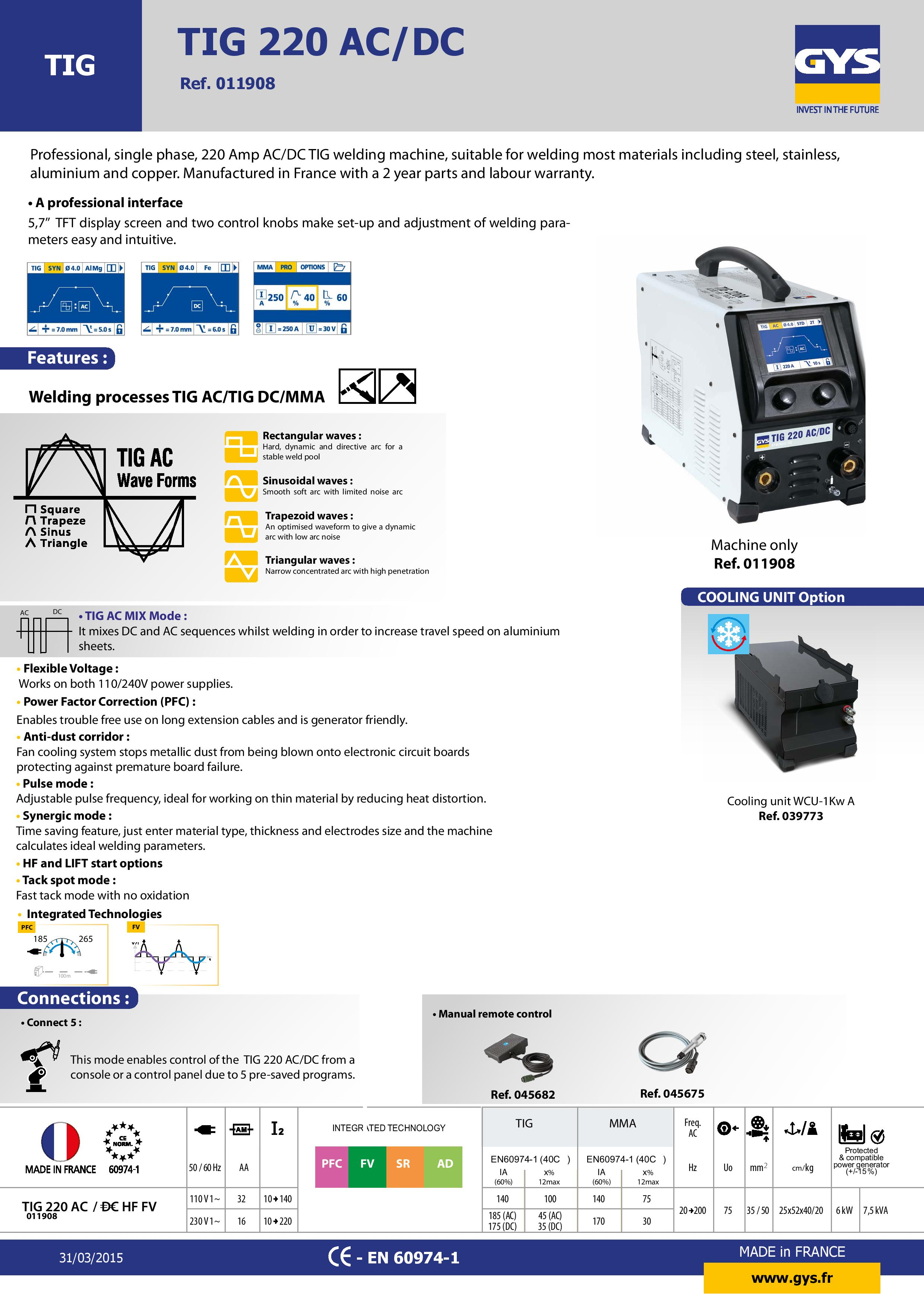 TIG 220 AC/DC Specification